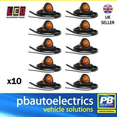 10 x LED 181AME Trailer Side Round Marker Lights / Lamps AMBER - 12 / 24 Volt