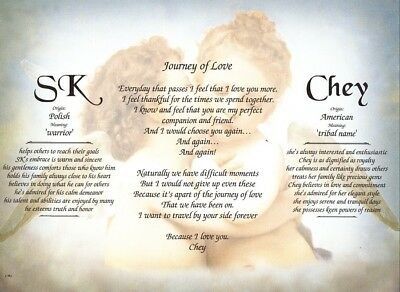 Personalized Two Name Meanings with Journey of Love Poem - Romance & Marriage