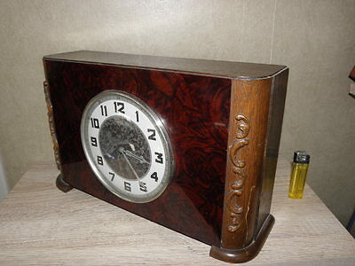 vintage old mantel Clock table wood Antique art deco uhr antique mid century
