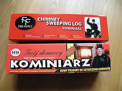 2x CHIMNEY CLEANING LOG SWEEPER FLUE SOOT and FIREPLACE CLEANER RED BOX
