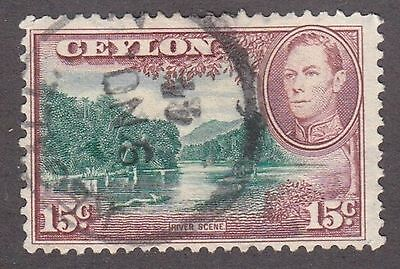 Ceylon, 1938, 15c brown and green, SG 390; Sc 282, used.