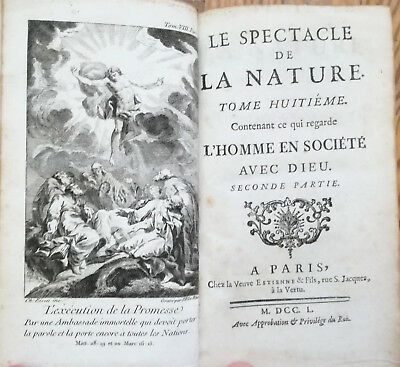 Religion Natural History Spectacle Nature 2 Volumes - 1750