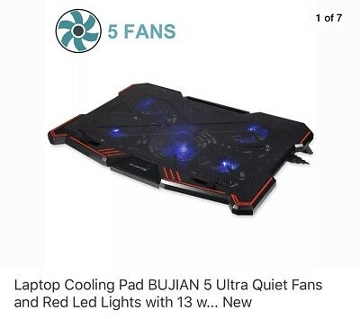 Laptop Cooling Pad BUJIAN 5 Ultra Quiet Fans and Red Led Lights with 13 w... New