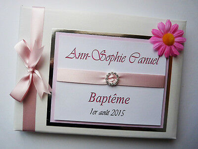 Personalised Christening/ Naming Day Guest Book With Flower - Any Colour