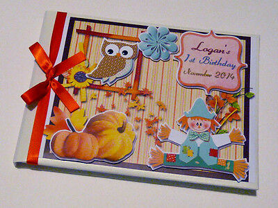 Personalised Autumn Boy/girl /christening Guest Book Any Design