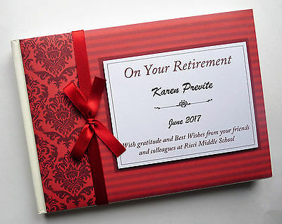 Personalised Red Retirement/wedding/gift Guest Book - Any Colour