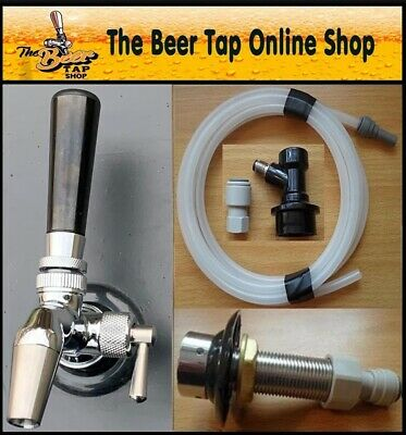 Beer Tap Intertap Flow Control SS Faucet & Shank with Beer Line. Kegerator Kit.