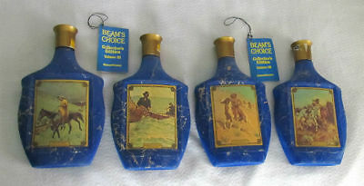 Vintage JIM BEAM'S Choice AMERICANA Set of 4 Collector's BOTTLES Empty WESTERN