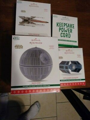 Hallmark Star Wars 2017 Keepsake Storyteller Ornaments Lot of 3 PLUS POWER CORD