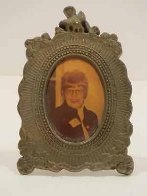 """Antique Miniature Victorian Gold Metal Picture Frame with Tripod Floral 2-3/4"""""""
