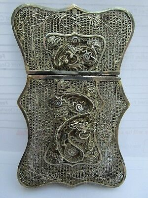 Antique Indian or Oriental Silver Filigree Wire Calling Card Case with Dragon