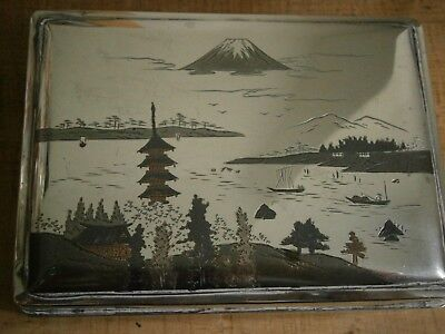 Vintage Japanese sterling silver box signed Kuyeda with Mount Fuji scene