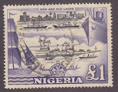 Nigeria,1953, 1 pound, black and purple, SG80, Sc 91, perf 14, used.