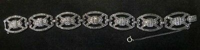"""Early Magnificent Sterling Silver ART DECO MARCASITE 7.5"""" Bracelet (*Sb8 14)"""