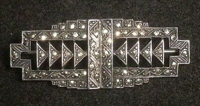"""Early Magnificent Sterling Silver Marcasite ART DECO 1.75"""" BarPin Brooch (Sb8 15"""
