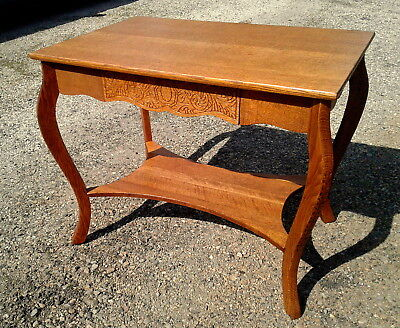 Tiger Oak Library Table Pressed Skirt LARKINS SOAP CO. 1920s ERA Antique