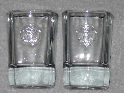 Lot Of Jack Daniels Old No 7 Whiskey Square Clear Shot Glasses Set Of 2