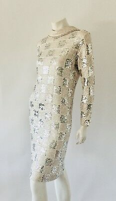 VTG Rare 1960's Royal Cathay Checkered Sequins Knit Wiggle Mod Dress Sz S-L