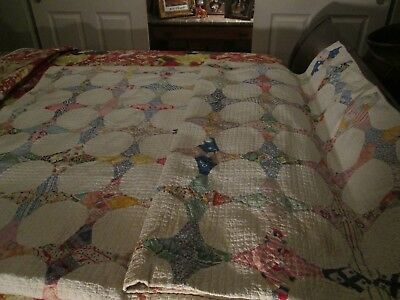 Antique Collectible Handmade White Snowball Quilt, 1929