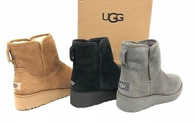 82850071cd2 UGG VALBERG CHESTNUT Suede Shearling Cuff Wedge Women's Boots Size ...