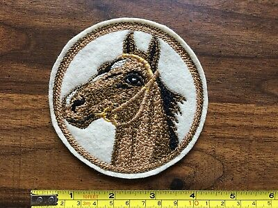 "Vintage Felt Horse/Equestrian Stitched Patch 4"" round name SEMBLER on back"