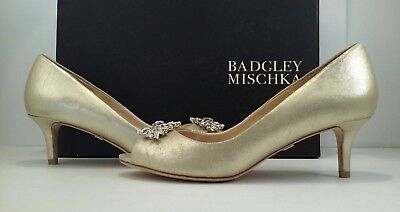 Badgley Mischka Layla Women's Platino Leather Evening Peep Toe Heels Pumps 5 M