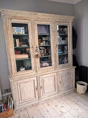 Antique French Bookcase Library Shabby Chic Louis Philippe