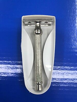 MEN'S STAINLESS STEEL DE DOUBLE EDGE SAFETY RAZOR ONLY + 10 blade FREE