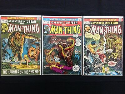 ADVENTURE INTO FEAR Lot of 3 Marvel Comic Books - #11 12 18 - Man-Thing!