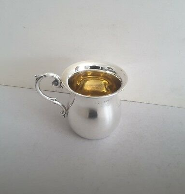 Nice Shaped Antique Solid Silver Christening Mug.   Ht. 8Cms.  Chester. 1909.