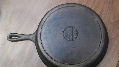 "Lodge 12"" Round Cast Iron Skillet - 8SK Back Stamped - RARE Vintage Antique!"