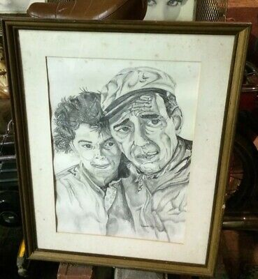 "Terrific Old Signed Drawing Of ""The African Queen"" Hepburn Bogart By Robert King"