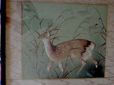 Antique Chinese Japanese Finely Embroidered Silk Tapestry  Deer