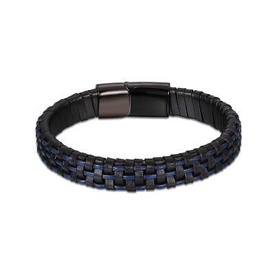 Braided  Black Leather Braclelet with Locking Stainless Steel Clasp 8 1/2inches