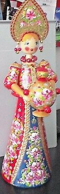Large Wooden Russian Festive, Bejeweled Hand Painted doll, Russia