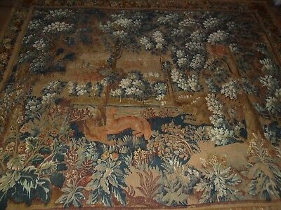 """Antique French tapestry made by serigraph"""".Verdure des flandres""""Wall hanging.."""