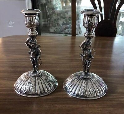 Set Of 2 I. Freeman Silverplate Cupid Candlesticks Hand Made in Spain