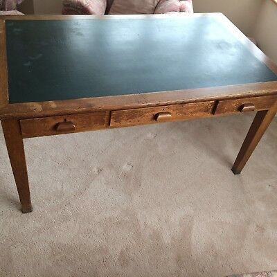 Large Vintage Oak Library Desk With Green Inlaid Top and Three Drawers
