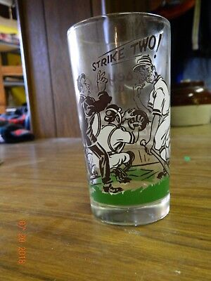 1 Casey at the bat drinking glass early vintage color graphics