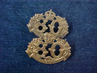 Orig Pre WW1 Pair Of Closely Matching Collar Badges 80th Nicolet Regiment