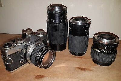 Olympus Om-1 Camera (Missing Mirror) UNTESTED With 4 Lenses