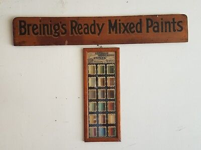 Original Sign & Store Display Breings Ready Mixed Paint Hardware Store Rare Lot