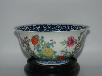 A Fine Chinese Blue & White ' Famille Rose '  Bowl with Birds   Xuantong Mark