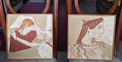 Ancient Greek Fresco Museum Piece Young Woman & Satyr + Young Woman Of Thraki