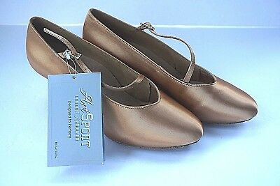 "Ray Rose Art Sport Flesh Satin Ballroom Dance Shoes Strap 2"" Flared Heel H1"