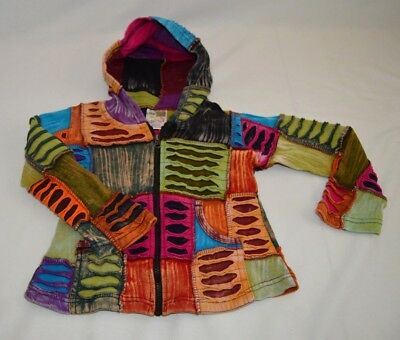 India Boutique Kids Jacket Nepal Hoodie  Patchwork Multi Color Children's Medium