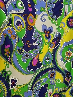 vtg 60's Fabric Bold Paisley Psychedelic Poly 2.5