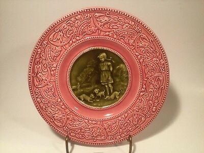 Antique German Majolica Puppies & Little Girl Plate c.1880's, gm996 GIFT QUALITY