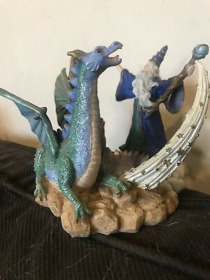 Wizard And Dragon Candle voltive Holder with castle Magic sci-fi