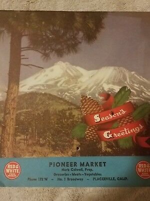 Vintage grocery store advertising (Pioneer Market)Placerville, Ca 1949